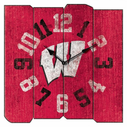 Wisconsin Badgers Vintage Square Clock