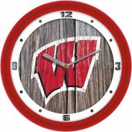 Wisconsin Badgers Weathered Wood Wall Clock