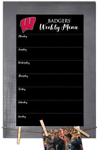 Wisconsin Badgers Weekly Menu Chalkboard with Frame