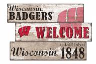 Wisconsin Badgers Welcome 3 Plank Sign