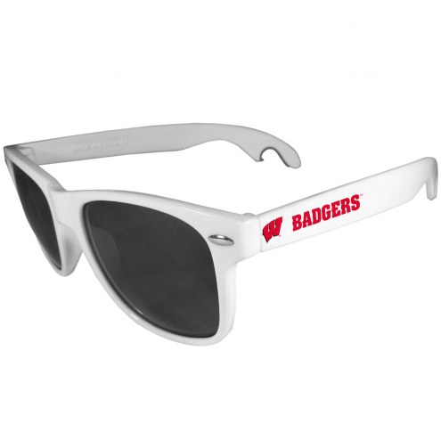 Wisconsin Badgers White Beachfarer Bottle Opener Sunglasses