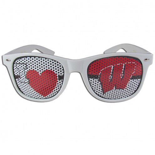 Wisconsin Badgers White I Heart Game Day Shades
