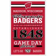 Wisconsin Badgers Established Wood Sign