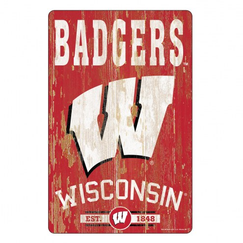 Wisconsin Badgers Slogan Wood Sign