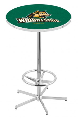 Wright State Raiders Chrome Bar Table with Foot Ring