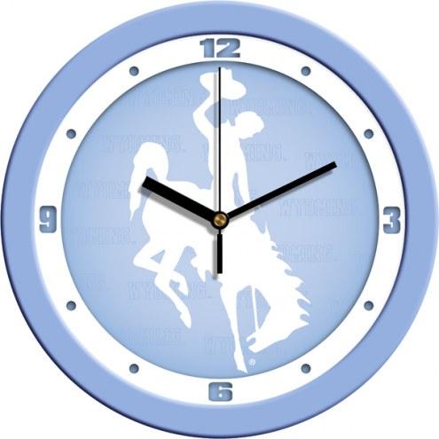 Wyoming Cowboys Baby Blue Wall Clock