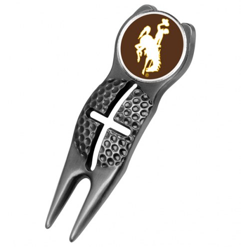 Wyoming Cowboys Black Crosshairs Divot Tool