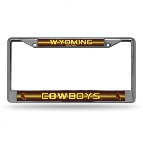 Wyoming Cowboys Chrome Glitter License Plate Frame
