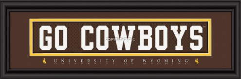 """Wyoming Cowboys """"Go Cowboys"""" Stitched Jersey Framed Print"""