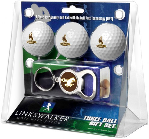 Wyoming Cowboys Golf Ball Gift Pack with Key Chain