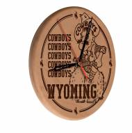 Wyoming Cowboys Laser Engraved Wood Clock