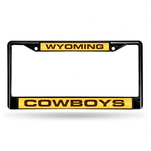 Wyoming Cowboys Laser Black License Plate Frame