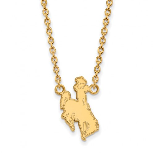 Wyoming Cowboys NCAA Sterling Silver Gold Plated Large Pendant Necklace