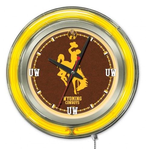 Wyoming Cowboys Neon Clock