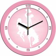 Wyoming Cowboys Pink Wall Clock