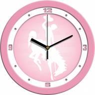 Wyoming Cowboys Pink Wall Clock
