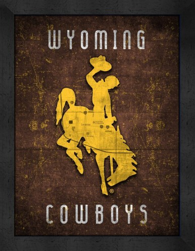 Wyoming Cowboys Retro Logo Map Framed Print