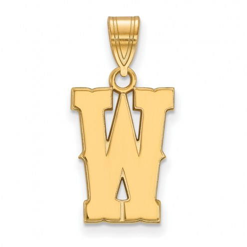 Wyoming Cowboys Sterling Silver Gold Plated Medium Pendant