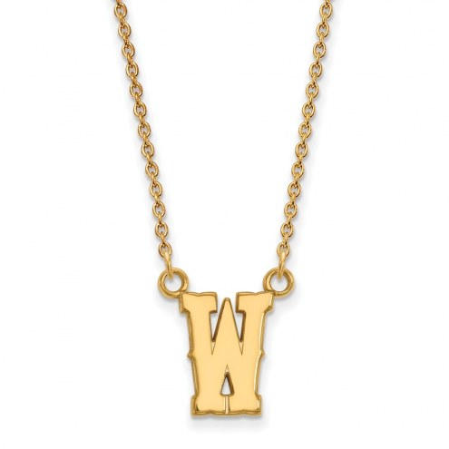 Wyoming Cowboys Sterling Silver Gold Plated Small Pendant Necklace