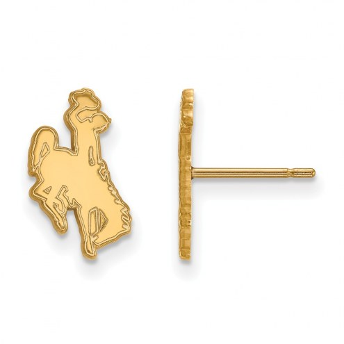 Wyoming Cowboys Sterling Silver Gold Plated Small Post Earrings