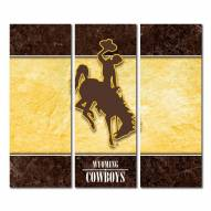 Wyoming Cowboys Triptych Double Border Canvas Wall Art