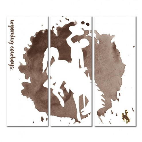 Wyoming Cowboys Triptych Watercolor Canvas Wall Art