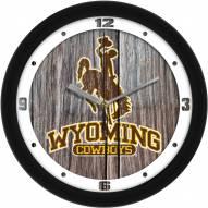 Wyoming Cowboys Weathered Wood Wall Clock
