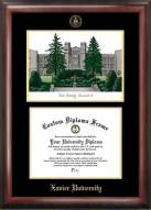 Xavier Musketeers Gold Embossed Diploma Frame with Campus Images Lithograph