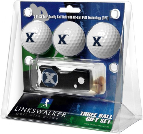 Xavier Musketeers Golf Ball Gift Pack with Spring Action Divot Tool