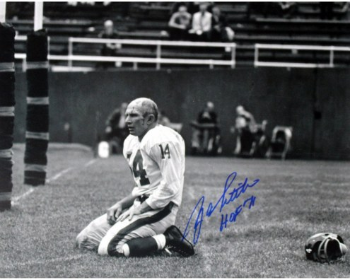 """Y.A. Tittle Agony of Defeat Blood 8x10 Photo w/ """"HOF"""" Insc. ( Signed in Blue)"""
