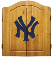 New York Yankees MLB Complete Dart Board Cabinet Set (w/ darts & flights)