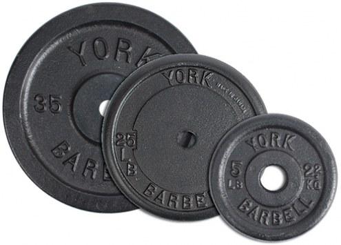 York 1 inch Standard Contour Pro Black Cast Iron Plate - 50 lb