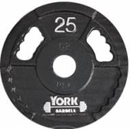 York 2 inch G2 Olympic Dual Grip Thin Line Steel Plate - 25 lb