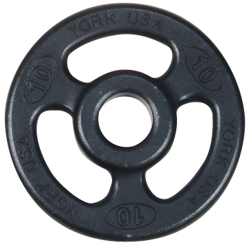 York 2 inch ISO-Grip Rubber Encased Steel Composite Olympic Plate - 10 lb