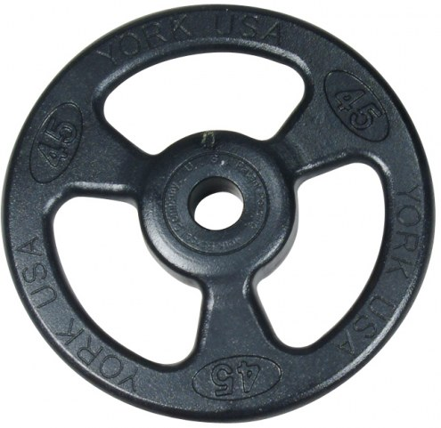 York 2 inch ISO-Grip Rubber Encased Steel Composite Olympic Plate - 45 lb