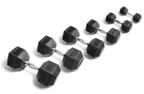 York 5-50 lb Rubber Hex Dumbbell Set
