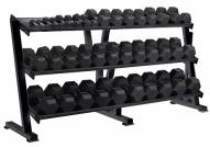 York 55-100 lb Rubber Hex Dumbbell Set