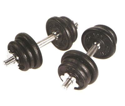 York 90 lb Cast Iron Adjustable Spinlock Dumbbell Set