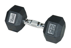 York Rubber Hex 60 Lb Dumbbell