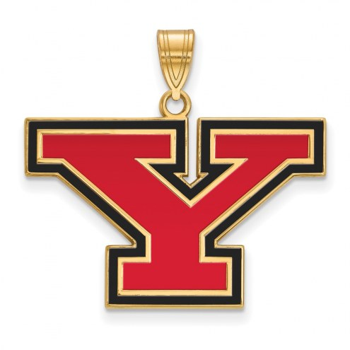 Youngstown State Penguins Sterling Silver Gold Plated Large Enameled Pendant