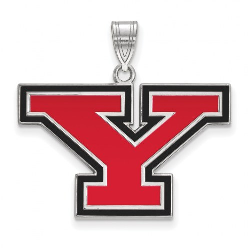 Youngstown State Penguins Sterling Silver Large Enameled Pendant